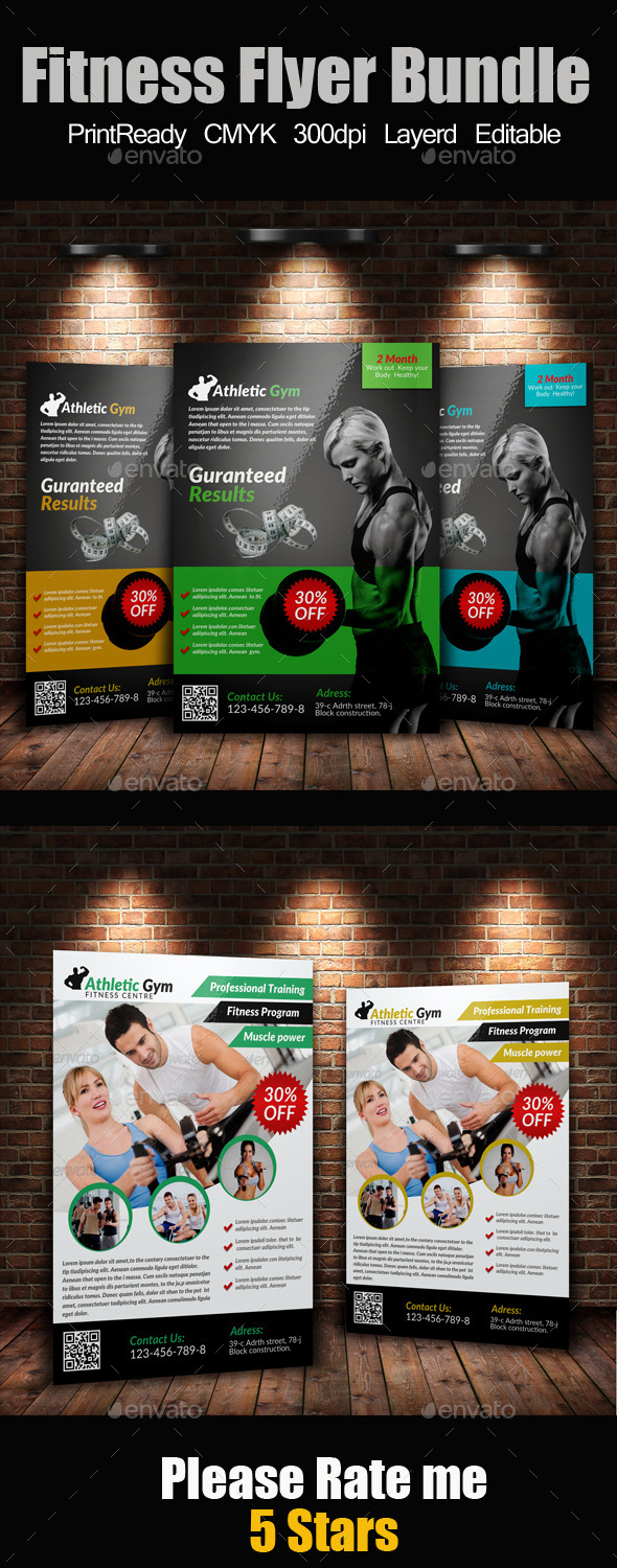 GraphicRiver A4 Body Fitness Flyers Bundle 9194174