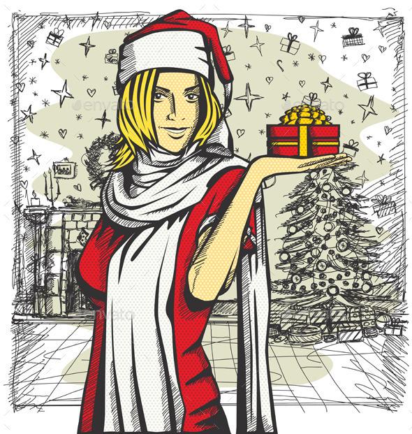 GraphicRiver Vector Woman Waiting For Christmas 9194254