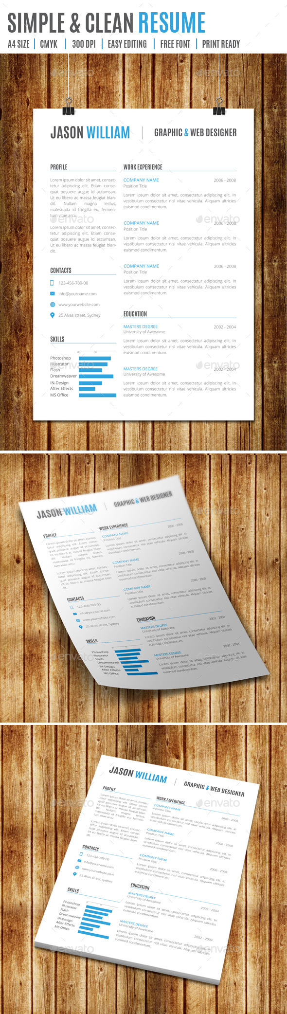 GraphicRiver Simple & Clean Resume 9194257