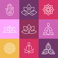 Yoga icons and round line signs - PhotoDune Item for Sale