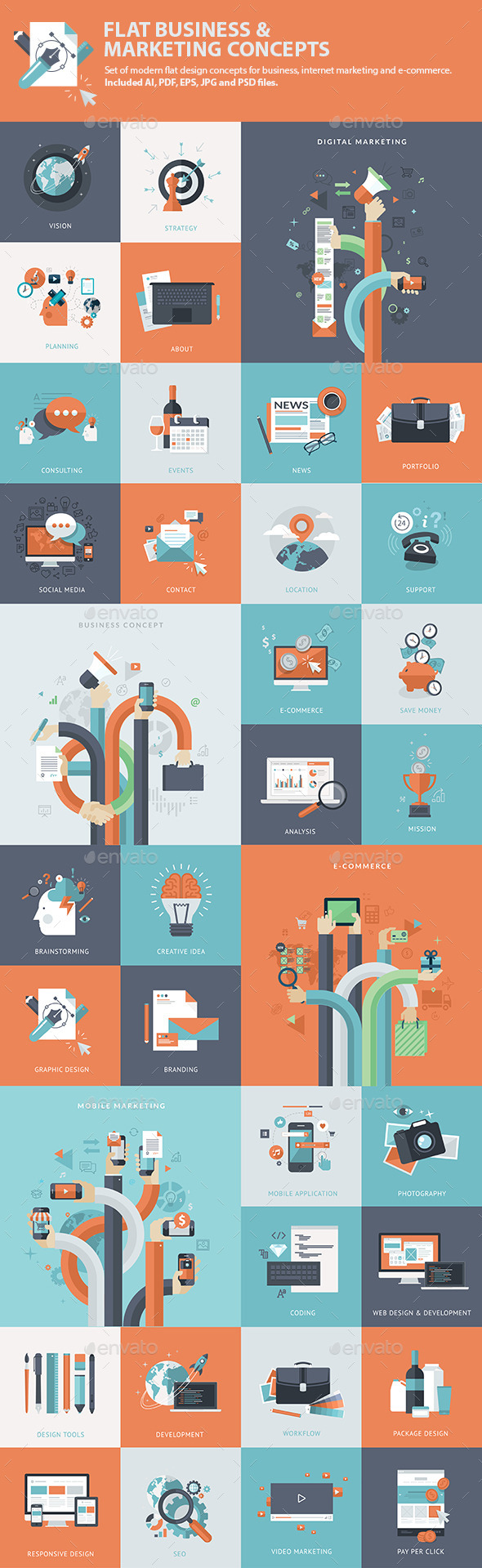 GraphicRiver Set of Flat Business & Marketing Concepts 9195304