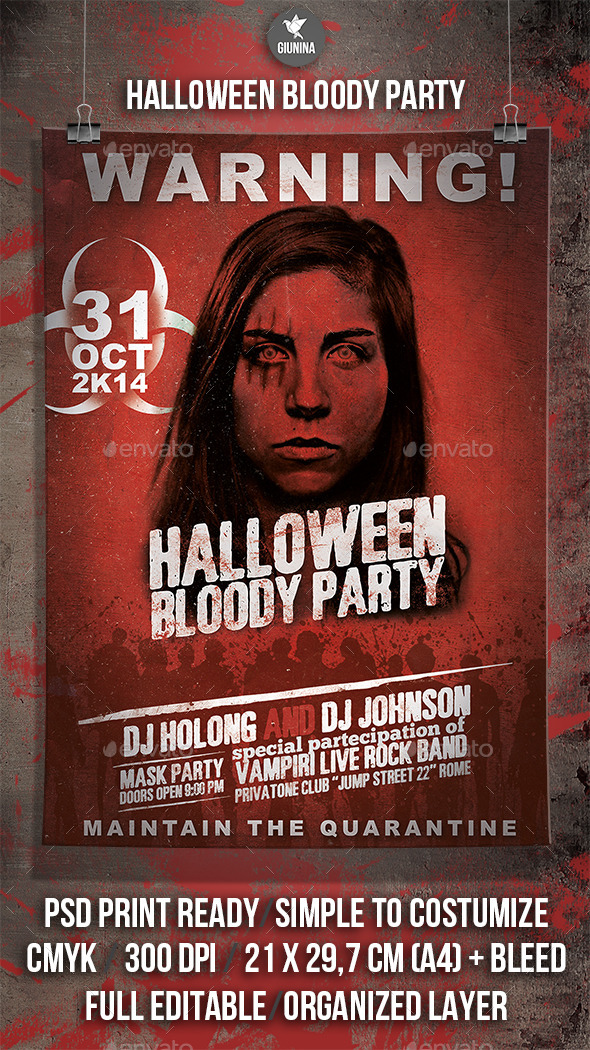 GraphicRiver Halloween Blody Party Flyer Poster 9195346