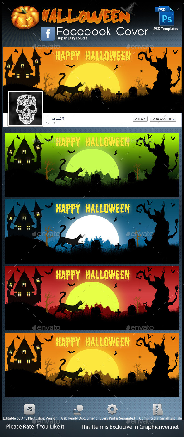 GraphicRiver Halloween Facebook Cover 9195427