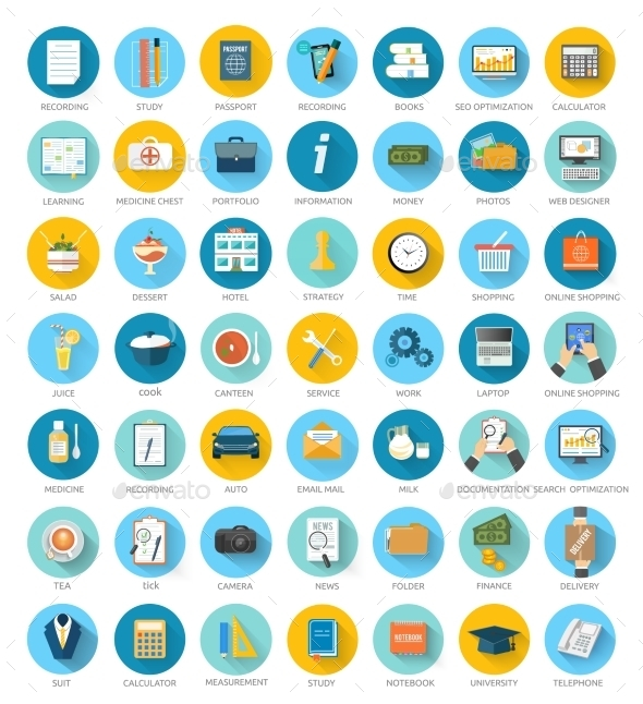 GraphicRiver Social media Seo Online Shopping Icons 9195634