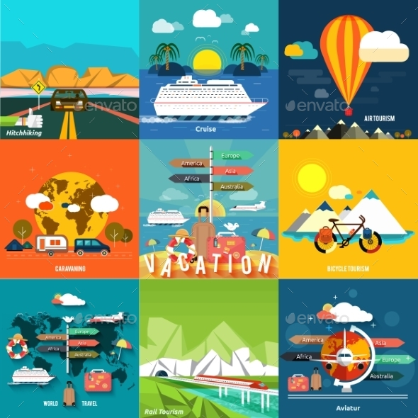 GraphicRiver Traveling and Planning a Summer Vacation 9195691