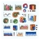 Colored Graphs  Charts and Diagrams on Grid Lines - GraphicRiver Item for Sale