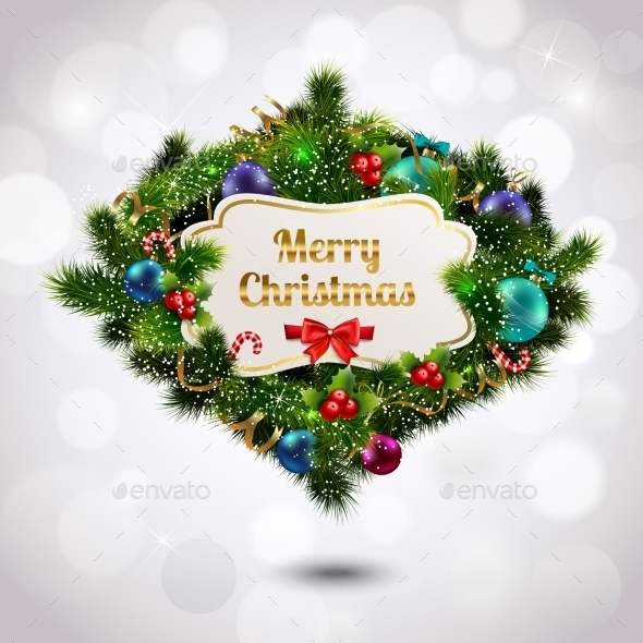GraphicRiver Christmas Wreath Postcard 9195912