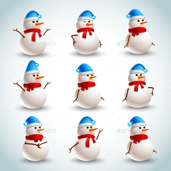 GraphicRiver Snowman Emotions Set 9195934
