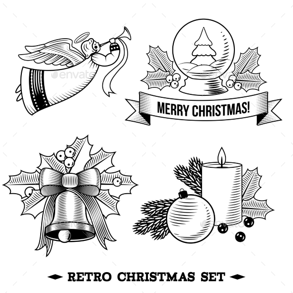 GraphicRiver Christmas Icons Black and White Set 9196123