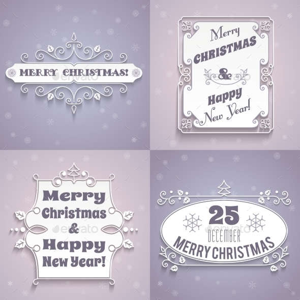 GraphicRiver Christmas Labels White Set 9196135