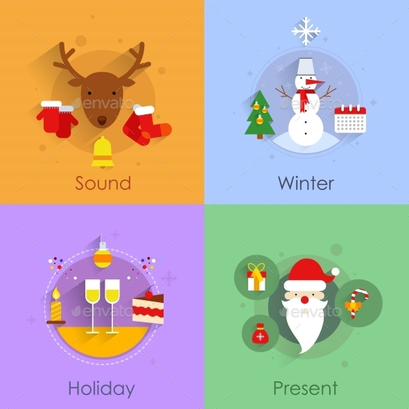 GraphicRiver Christmas Flat Set 9196138