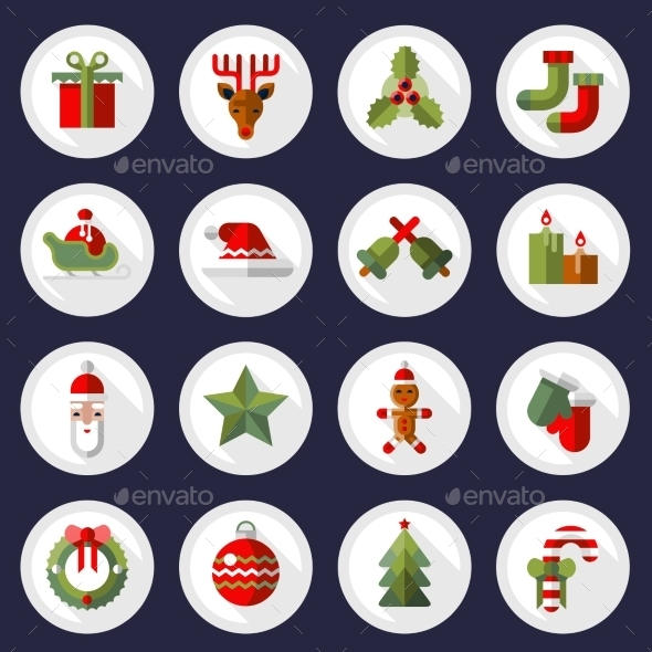 GraphicRiver Christmas Icons Buttons Set 9196143