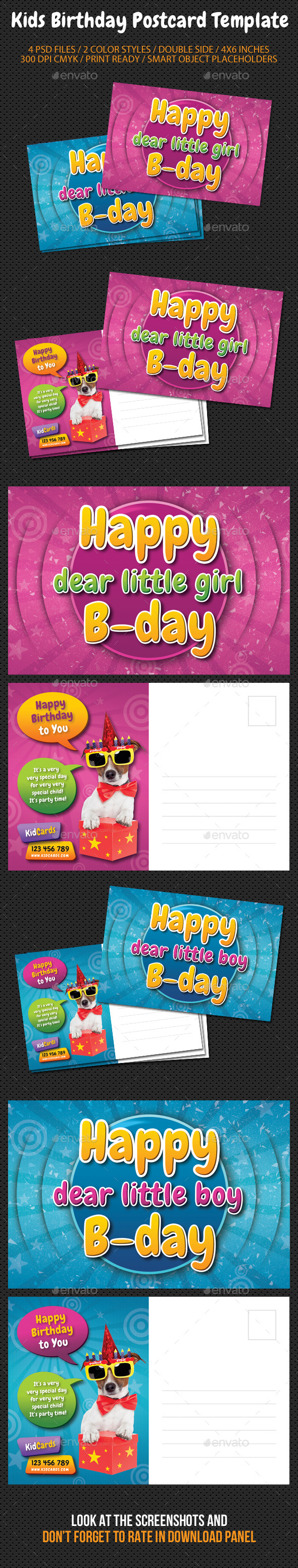 GraphicRiver Kids Birthday Postcard Template 9196250