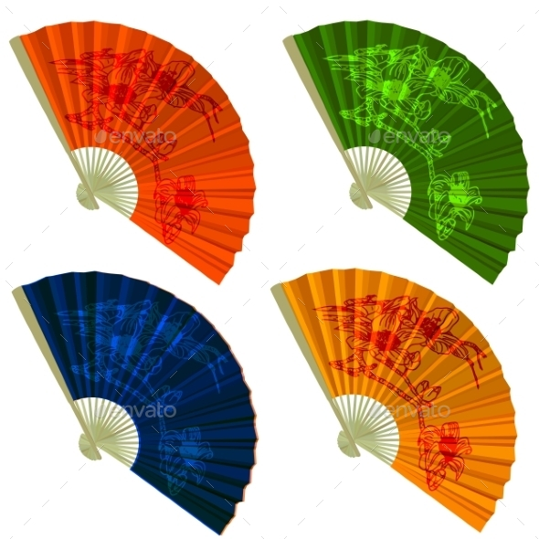 GraphicRiver Set Traditional Folding Fans with Flowers 9196941