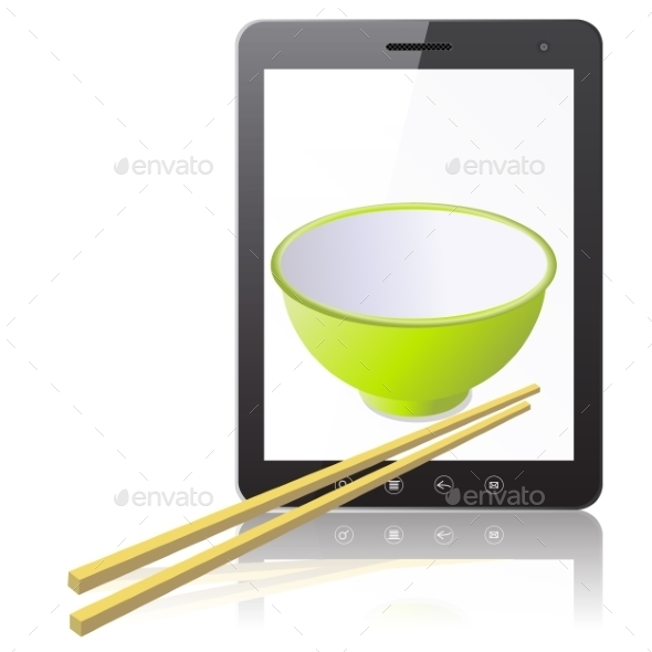 Tablet PC Computer with Mug with Wooden Chopsticks