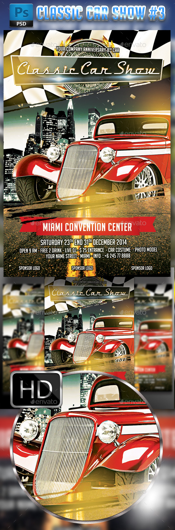 GraphicRiver Classic Car Show flyer #3 9197244