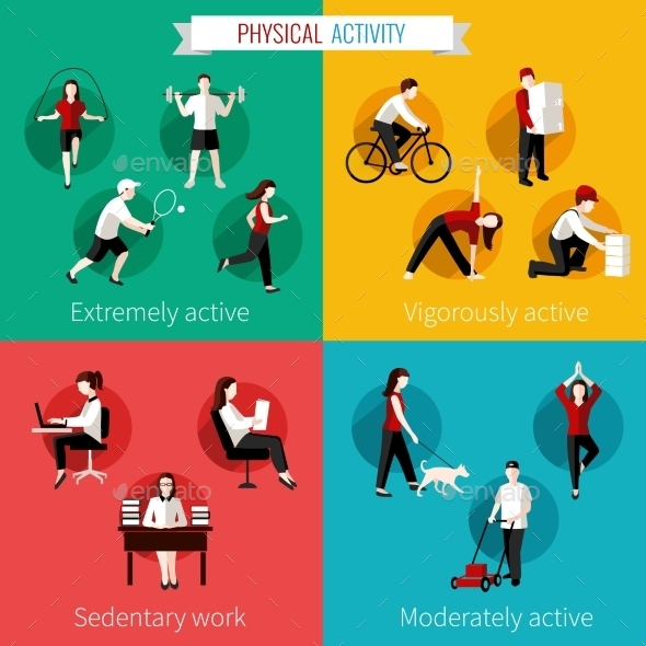 GraphicRiver Physical Activity Flat Set 9197435