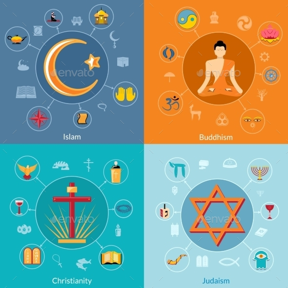 GraphicRiver Religions Flat Set 9197438