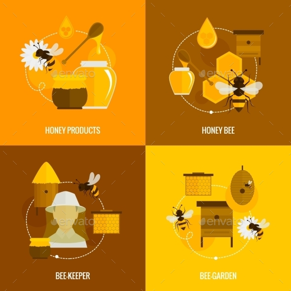GraphicRiver Bee Honey Icons Flat 9197466