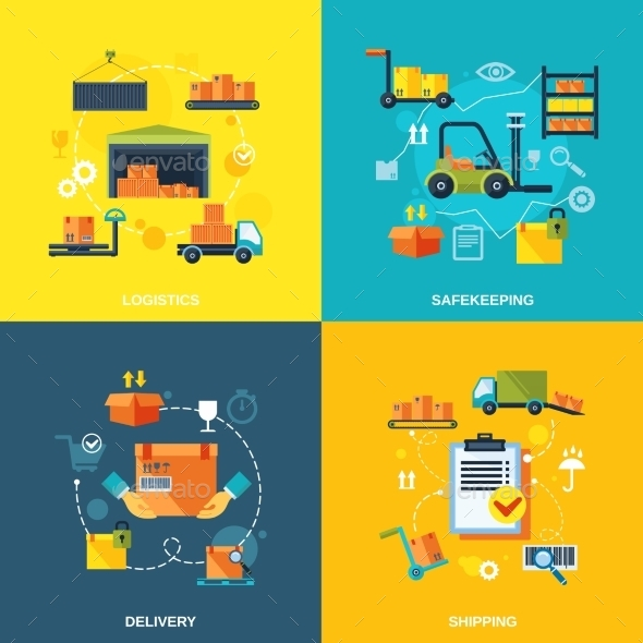 GraphicRiver Warehouse Flat Set 9197473