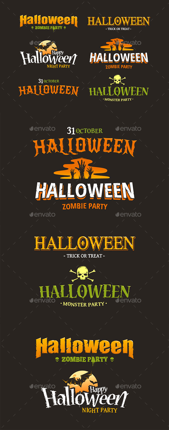 GraphicRiver Halloween Typography Set 9197551