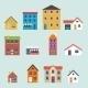 Retro House Street Flat Icons Set - GraphicRiver Item for Sale
