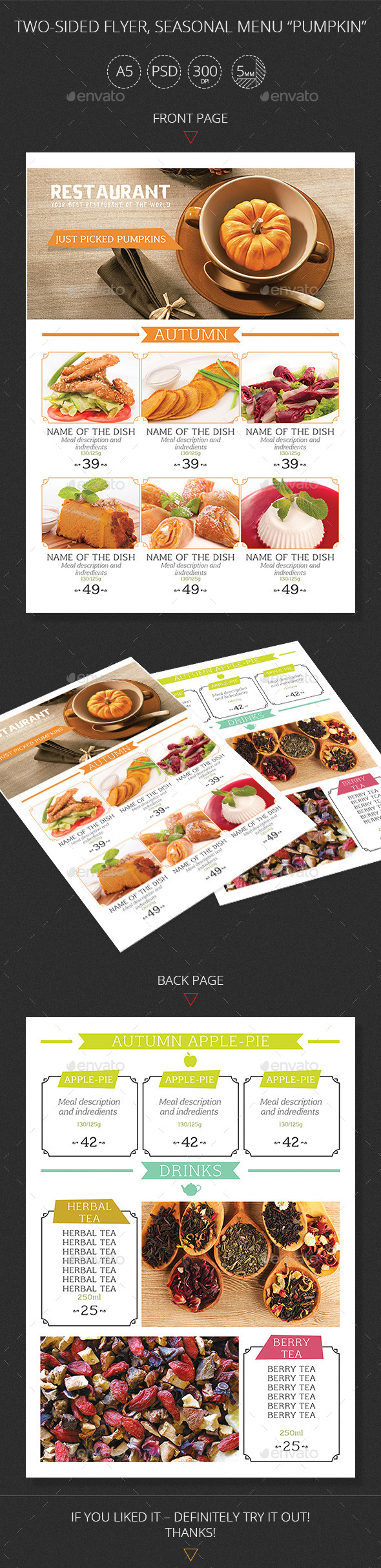 GraphicRiver Two-sided Flyer Seasonal Menu