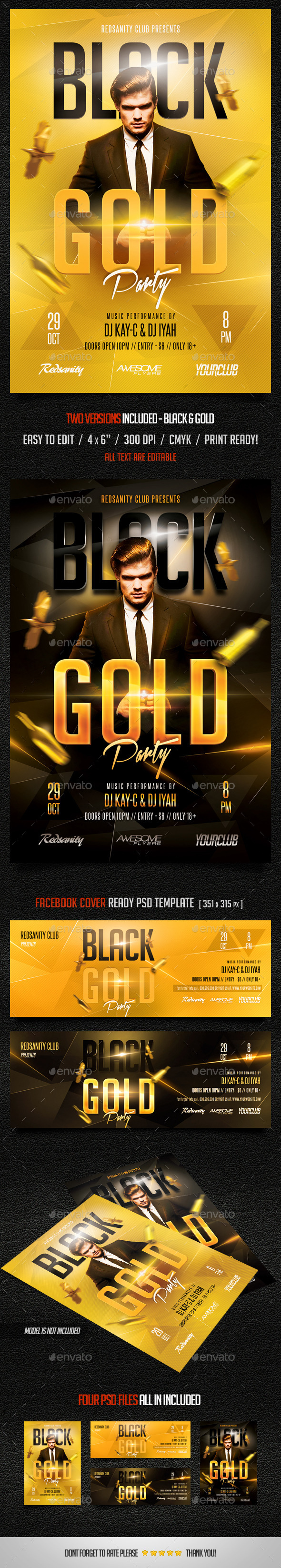 GraphicRiver Black Gold Party Flyer plus FB Cover 9198898