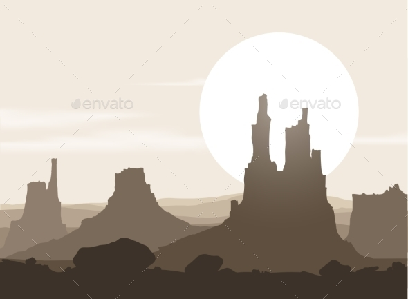 GraphicRiver Lifeless Landscape with Mountains over Sunset 9198974