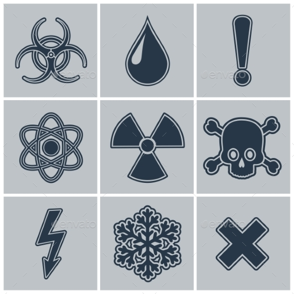 GraphicRiver Icon Set of Warning Symbols 9198979