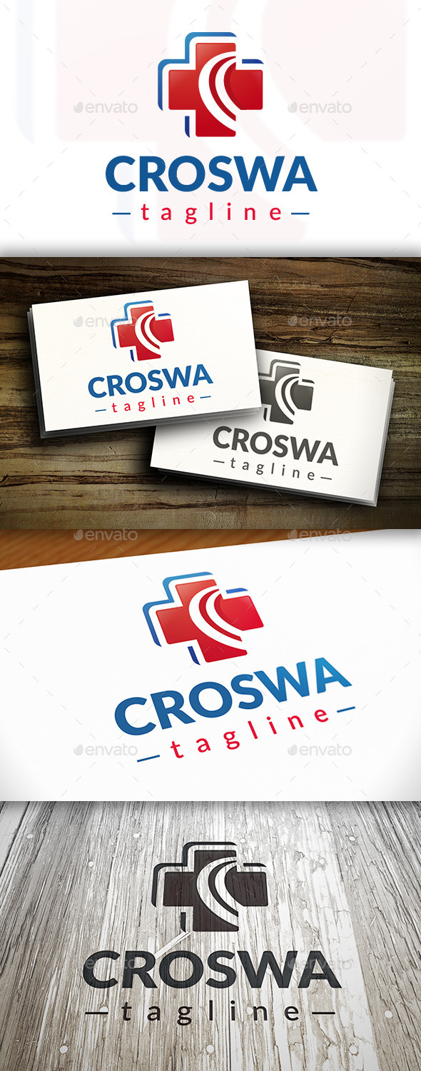 GraphicRiver Cross Wave Logo 9199191