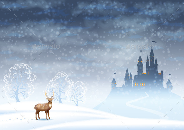 GraphicRiver Christmas Landscape Winter Castle 9199282