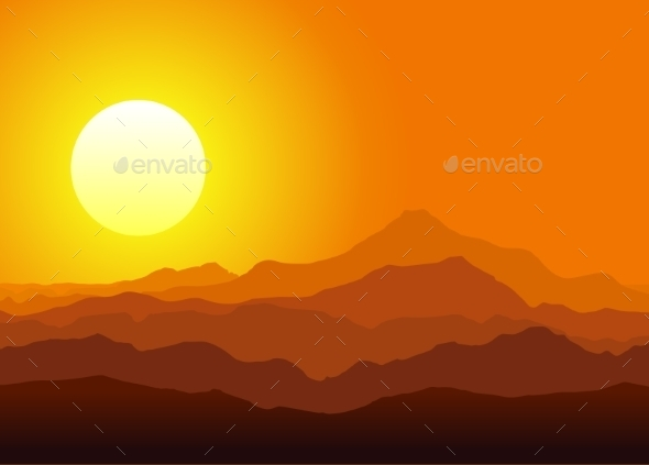 GraphicRiver Sunset in the Huge Mountains 9199294