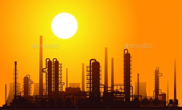 GraphicRiver Oil Refinery at Sunset Vector Illustration 9199295