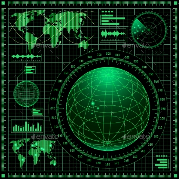 GraphicRiver Radar Screen with World Map 9199316