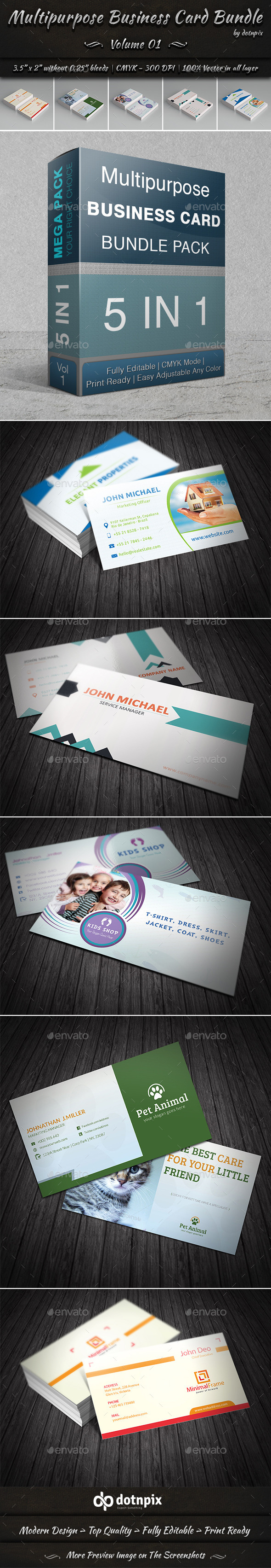 GraphicRiver Multipurpose Business Card Bundle Volume 1 9199333