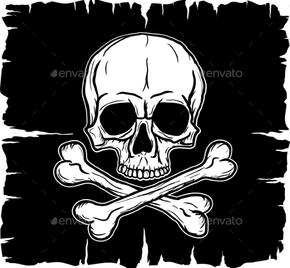 GraphicRiver Skull and Crossbones over Black Flag 9199348