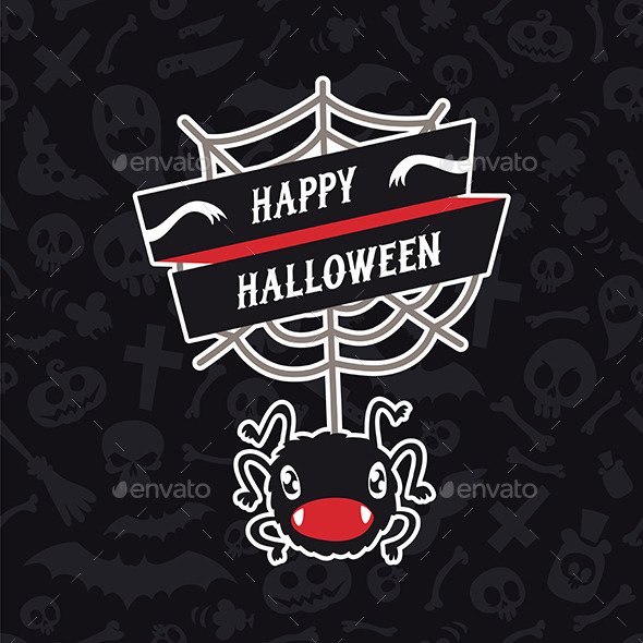 GraphicRiver Happy Halloween Card with Spider 9178473
