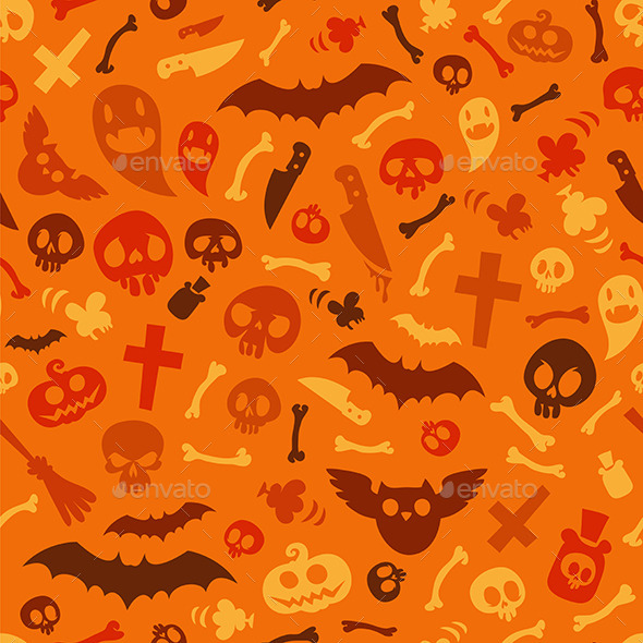 GraphicRiver Halloween Symbols Seamless Pattern Orange 9178468