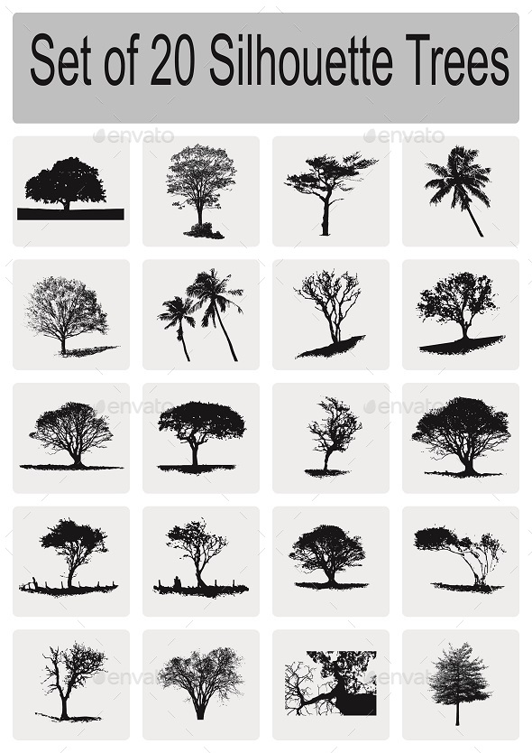 GraphicRiver Set of 20 Silhouette Trees 9201012