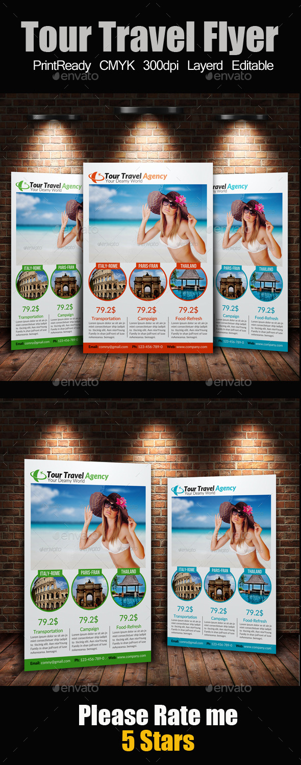 GraphicRiver A4 Tour Travel Flyer 9201016