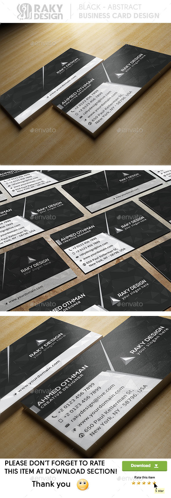 GraphicRiver Black Abstract Business Card 9177671