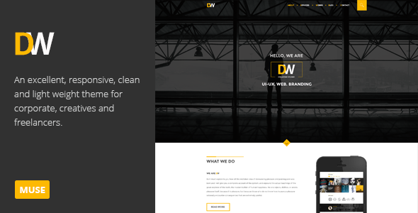 ThemeForest DW Creative One Page Muse Template 9201423