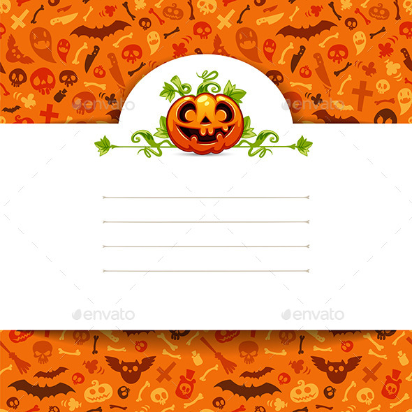 GraphicRiver White Paper Sheet with Pumpkin on Halloween Background 9183929