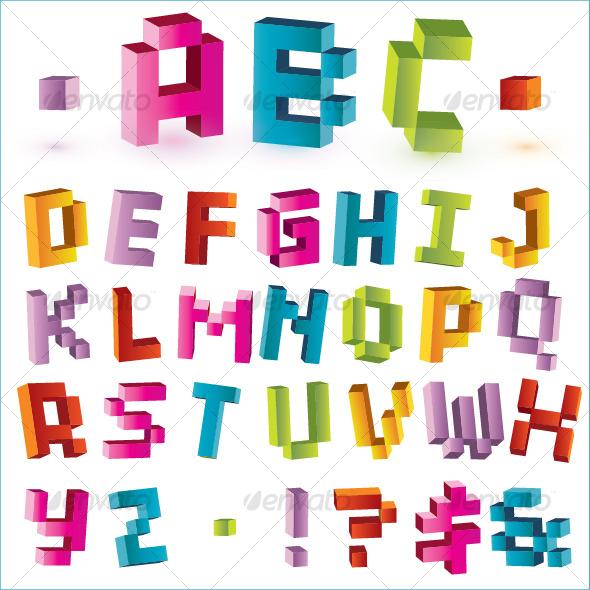 3d bright vector pixel alphabet  - Decorative Symbols Decorative