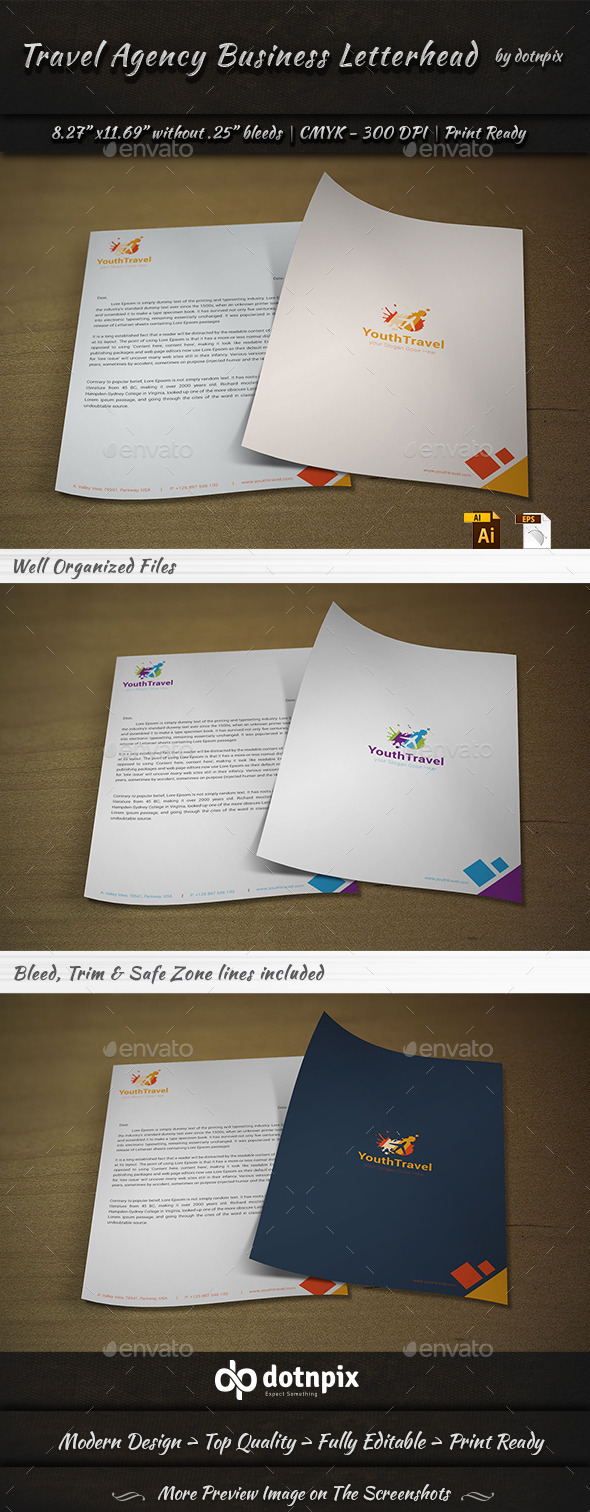 GraphicRiver Travel Agency Business Letterhead 9201631