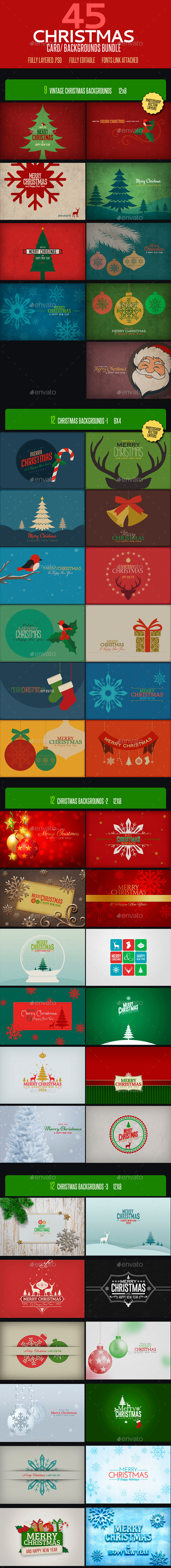 GraphicRiver Christmas Card Backgrounds Bundle 9202096