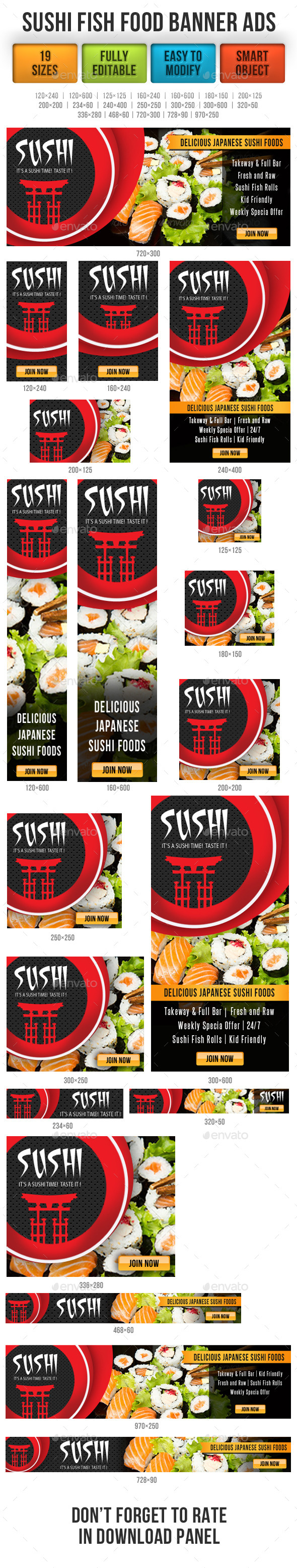 GraphicRiver Sushi Fish Food Banner Ads 9202283
