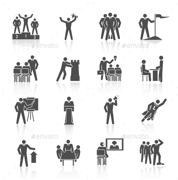 GraphicRiver Leadership Icons Black 9202282