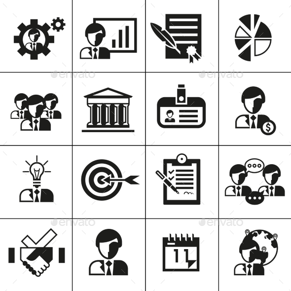 GraphicRiver Business Management Icons Black 9202286